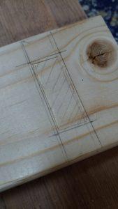 木材へ墨付け