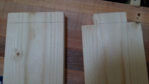 オスとなる木材を切る